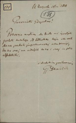 178 | Pismo Đure Daničića Ivanu Kukuljeviću