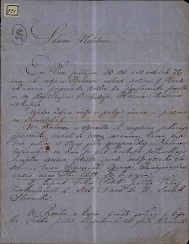 559 | Pismo Franje Koščeca Ivanu Kukuljeviću