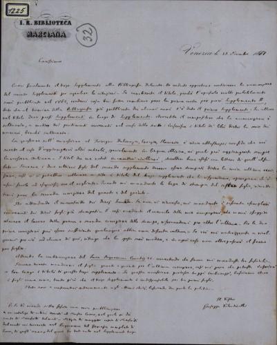 1225   Pismo Giuseppea Valentinellia Ivanu Kukuljeviću