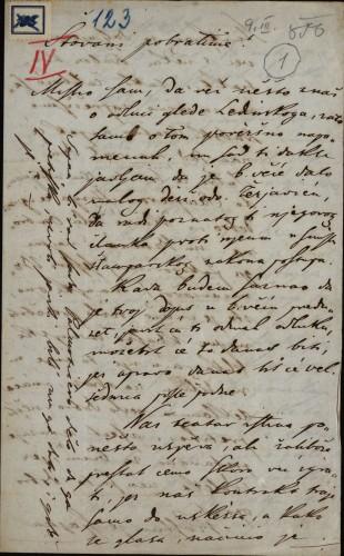 123 | Pismo Janka Cara Ivanu Kukuljeviću