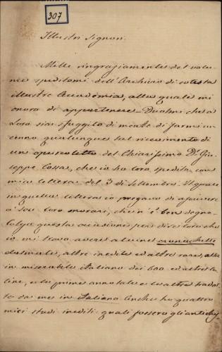 307 | Pismo Augustina Antuna Grubišića Ivanu Kukuljeviću