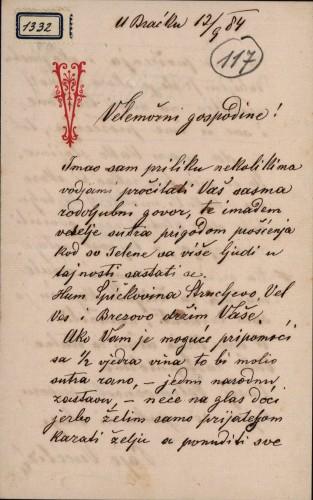 1332 | Pismo Paje Vučetića Ivanu Kukuljeviću