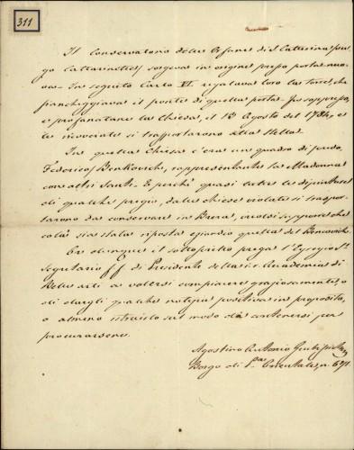311 | Pismo Augustina Antuna Grubišića Ivanu Kukuljeviću