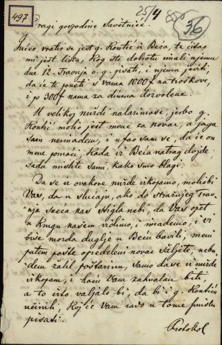 497   Pismo Bakoša Ivanu Kukuljeviću