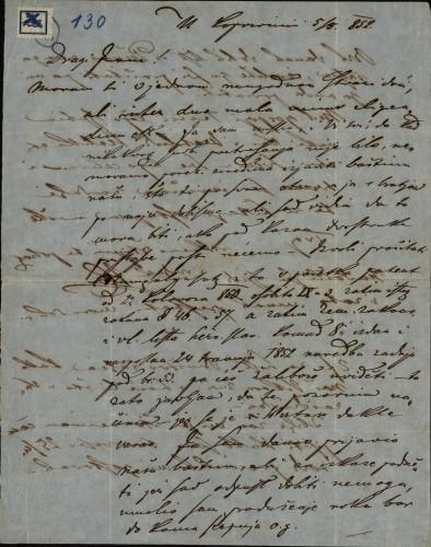130 | Pismo Janka Cara Ivanu Kukuljeviću