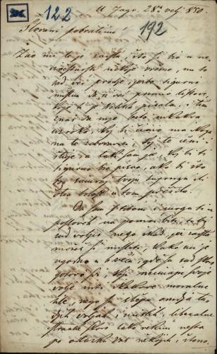 122 | Pismo Janka Cara Ivanu Kukuljeviću
