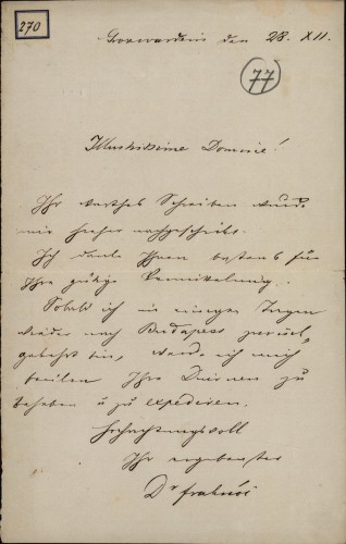270 | Pismo dr. Vilmoša Fraknoi Ivanu Kukuljeviću