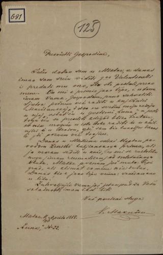 691   Pismo Vikentija Vasiljevića Makuševa Ivanu Kukuljeviću