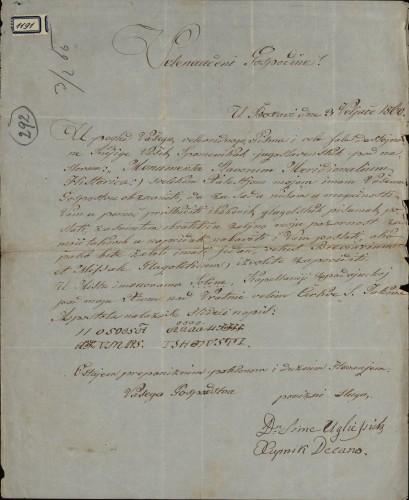1191 | Pismo dr. Sime Ugliessicha Ivanu Kukuljeviću