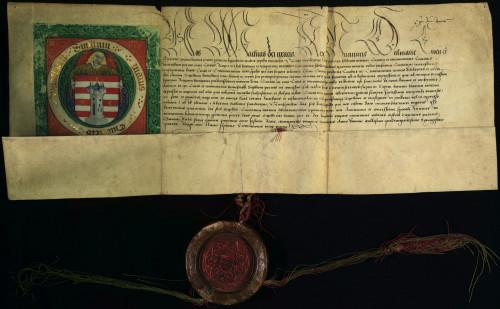 X-136: Kralj Matija Korvin podijeljuje i potvrđuje gradu Varaždinu grb. (Litterae armales)