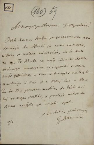 181 | Pismo Đure Daničića Ivanu Kukuljeviću