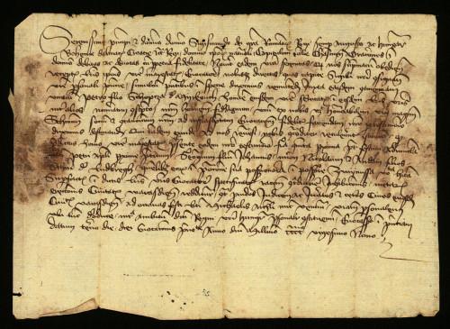V-35: Čazmanski kaptol izvješćuje kralja Sigismunda da je kraljev izaslanik pozvao pred kralja za 29.IX. 6.X.1429., Jurja, Nikolu i Andriju od Ludbrega u sporu glede međaposjeda njihovih i grada Varaždina