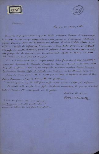 1216   Pismo Giuseppea Valentinellia Ivanu Kukuljeviću