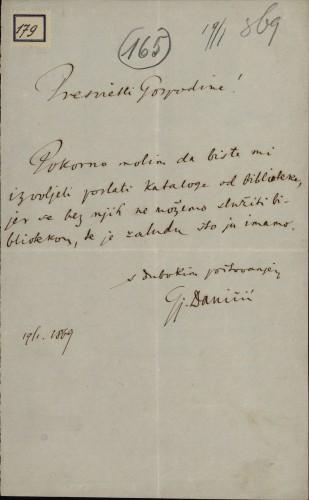 179 | Pismo Đure Daničića Ivanu Kukuljeviću
