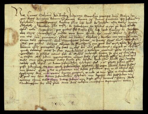 XI-157: Dvorski sudac Stjepan de Bator odgađa do 06.-13.01.1479. predočenje dokumenata Nikole, sina Ladislava Herka, i zagrebačkoga biskupa Osvalda u parnici s gradom Varaždinom.