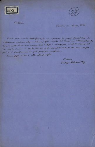 1218   Pismo Giuseppea Valentinellia Ivanu Kukuljeviću
