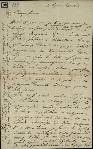 133 | Pismo Janka Cara Ivanu Kukuljeviću