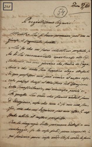248 | Pismo člana obitelji Fanfogna Ivanu Kukuljeviću