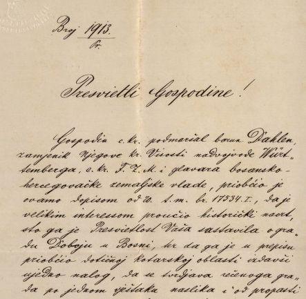 601 | Pismo predstojnika Unutarnjeg odjela zemaljske vlade Ivanu Kukuljeviću