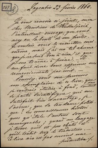 157 | Pismo Edgara von Corberona Ivanu Kukuljeviću
