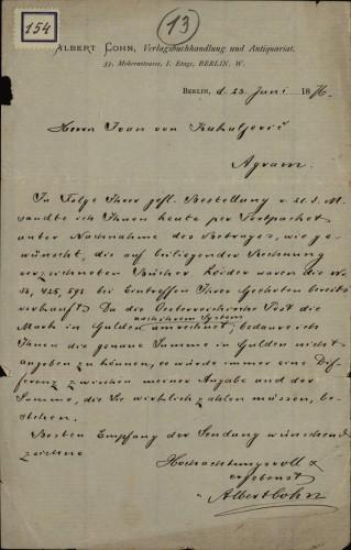 154 | Pismo Alberta Cohna Ivanu Kukuljeviću