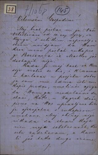 38 | Pismo Jovana N. Banakija Ivanu Kukuljeviću