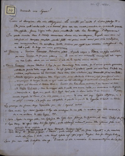319 | Pismo dr. Giovannija Gurata Ivanu Kukuljeviću
