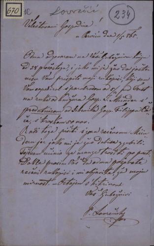 670 | Pismo Ljudevita Lovrečića Ivanu Kukuljeviću