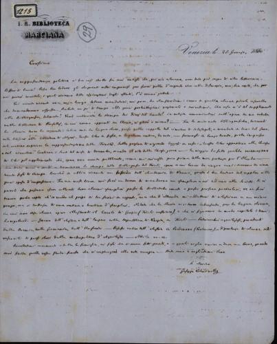 1215   Pismo Giuseppea Valentinellia Ivanu Kukuljeviću