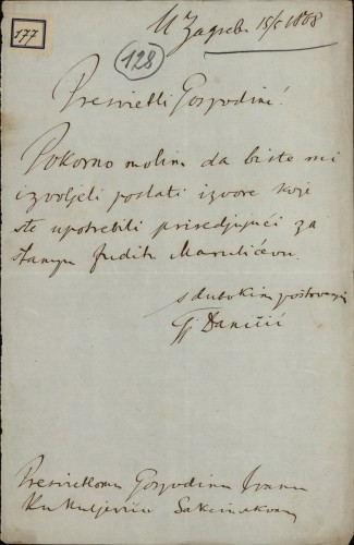 177 | Pismo Đure Daničića Ivanu Kukuljeviću