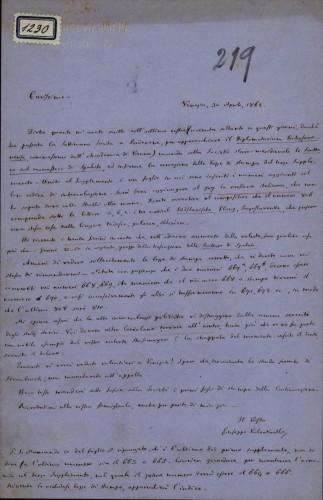 1230   Pismo Giuseppea Valentinellia Ivanu Kukuljeviću