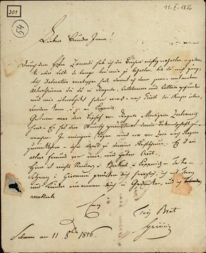 301 | Grivičićevo pismo Ivanu Kukuljeviću