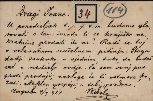 34 | Pismo Nikole Badovinca Ivanu Kukuljeviću
