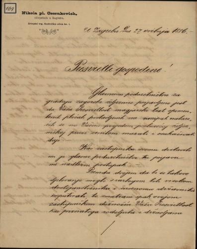 169 | Pismo Nikole Crnkovića Ivanu Kukuljeviću