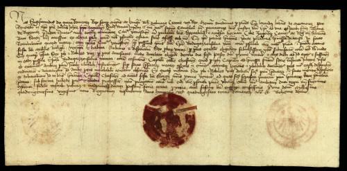 V-39: Kralj Sigismund odgađa rješenje parnice između grada Varaždina i zagrebačkoga biskupa Ivana radi međa posjeda grada Varaždina i Bodogazonfalfe...