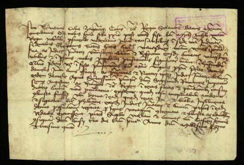 VII-89: Ban Herman Celjski potvrđuje, da je zastupnik grada Varaždina izjavio, da su izgorjeli neki dokumenti u kući varaždinskoga prisežnika i bilježnika Daniela.