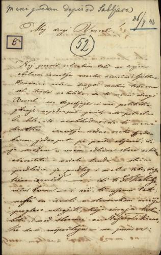 6 | Pismo M.B. Vjenceslavu Ferencu