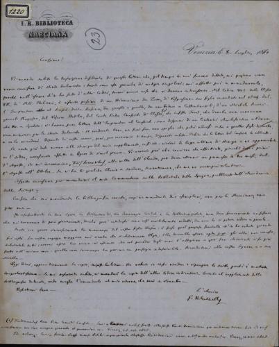 1220   Pismo Giuseppea Valentinellia Ivanu Kukuljeviću