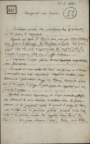 322 | Pismo dr. Giovannija Gurata Ivanu Kukuljeviću
