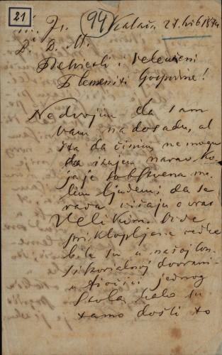 21 | Pismo Ivana Antunovića Ivanu Kukuljeviću
