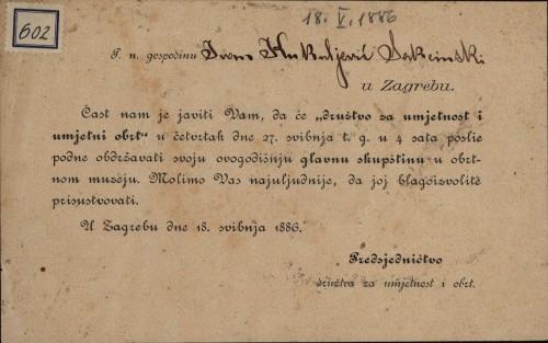 602 | Pozivnica Ivanu Kukuljeviću na glavnu skupštinu Društva za umjetnost i obrt