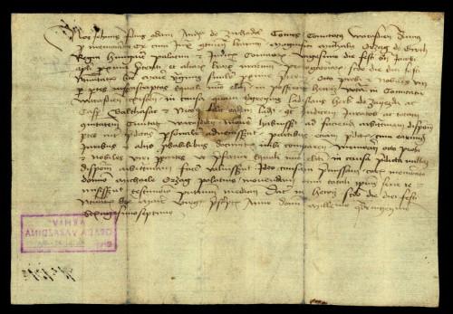 XI-143: Varaždinski župan Ivan, sin Andrije od Suhodola, predaje rješenje parnice između grada Varaždina i plemića od Zajezde palatinu Mihajlu Orsag.