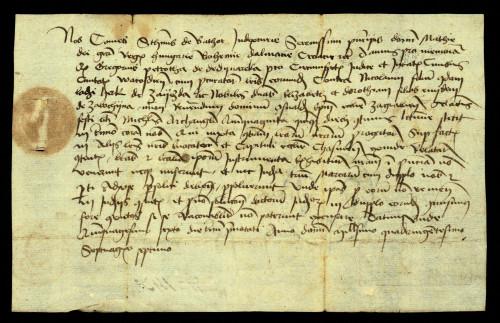 XI-155: Dvorski sudac Stjepan de Bator osuđuje radi ogluhe Nikole sina Ladislava Herka od Zajezde njegove kćeri Elizabete i Doroteju, te zagrebačkoga biskupa Osvalda u parnici s gradom Varaždinom.