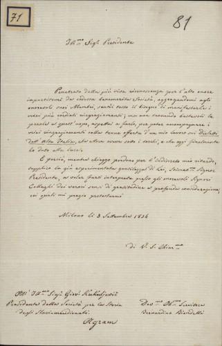 71 | Pismo Bernardina Biondellija Ivanu Kukuljeviću