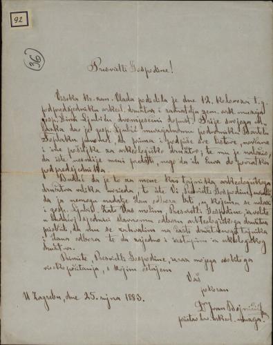 92 | Pismo Ivana Bojničića Ivanu Kukuljeviću