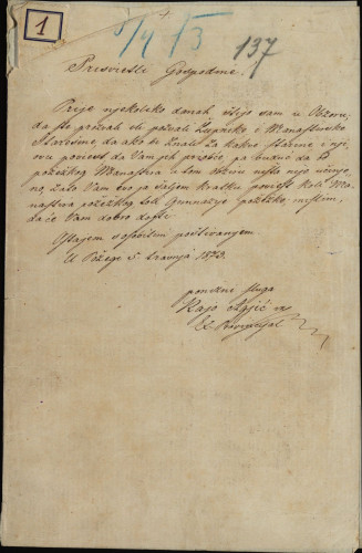 1 | Pismo Kaje Agića Ivanu Kukuljeviću