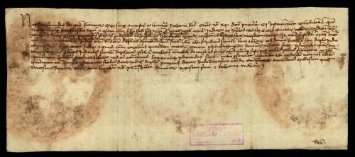 VI-65: Kralj Sigismund odgađa do svoga povratka iz Njemačke predočenje dokumenata Katice i Klare od Jakopovca u parnici s gradom Varaždinom.