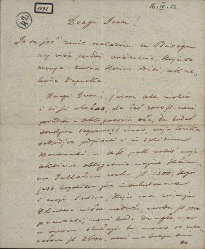 1132   Pismo Škendera Šimunčića Ivanu Kukuljeviću