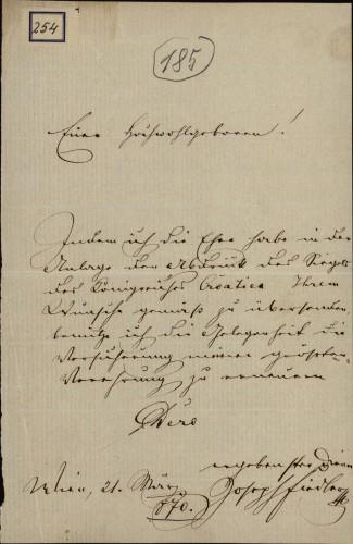 254 | Pismo Josipa Fiedlera Ivanu Kukuljeviću