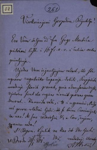 57 | Pismo Andrije Berlića Torkvata Ivanu Kukuljeviću